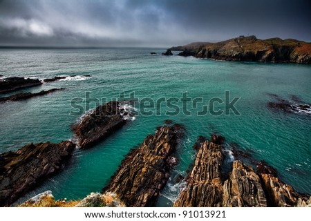 Irish coastline cliff landscape intense colors - stock photo