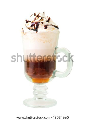 irish coffee  isolated on white background. clipping Path - stock photo
