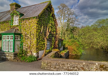 Irish cottage house in Cong - Co. Mayo - stock photo