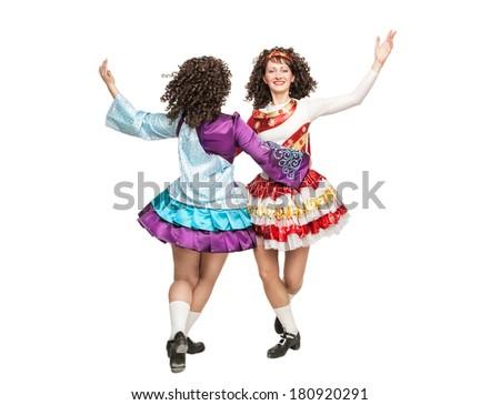 Irish dancers in hard shoes dancing  - stock photo