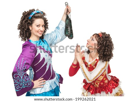 Irish dancers with soft shoes for dancing  - stock photo