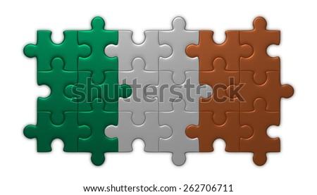 Irish flag assembled of puzzle pieces isolated on white background - stock photo