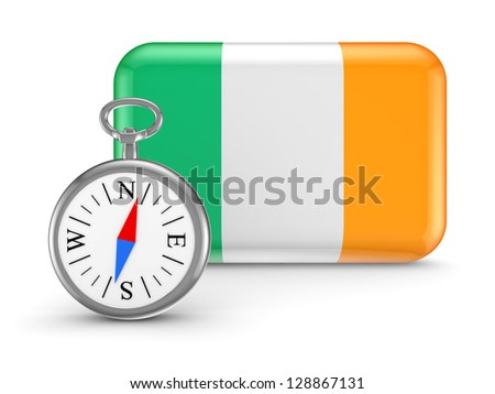 Irish flag.Isolated on white background.3d rendered. - stock photo