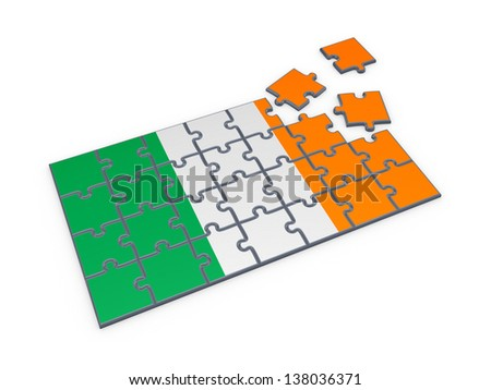Irish flag made of puzzles.Isolated on white.3d rendered. - stock photo