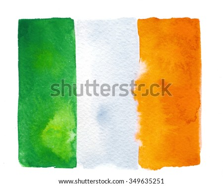 Irish flag painted with watercolors on white background - stock photo