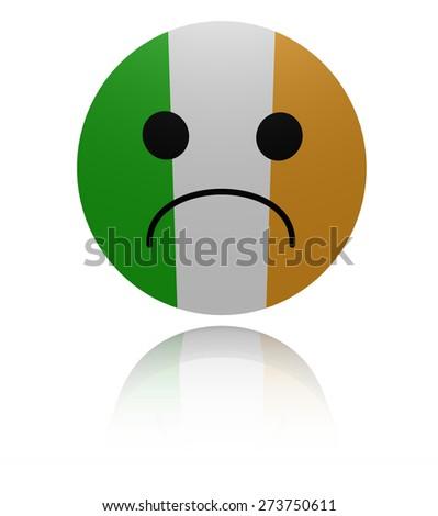 Irish flag sad icon with reflection illustration - stock photo