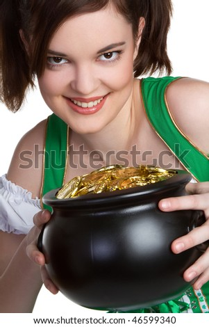 Irish Girl Holding Gold - stock photo
