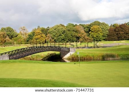 Irish golf course in Adare - stock photo