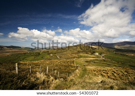 Irish hillside view along the Kerry Way - stock photo