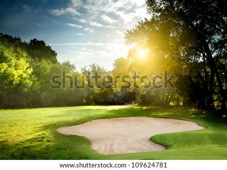 Irish idyllic golf course in summer time - stock photo