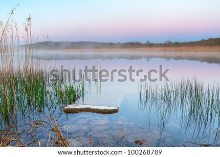 Irish lake before sunrise - stock photo