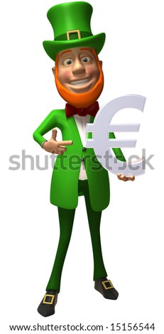 Irish leprechaun with an euro