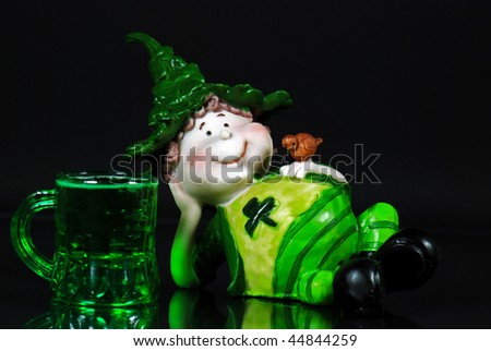 irish leprechaun with green beer