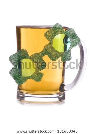 irish pint of beer celebration studio cutout - stock photo