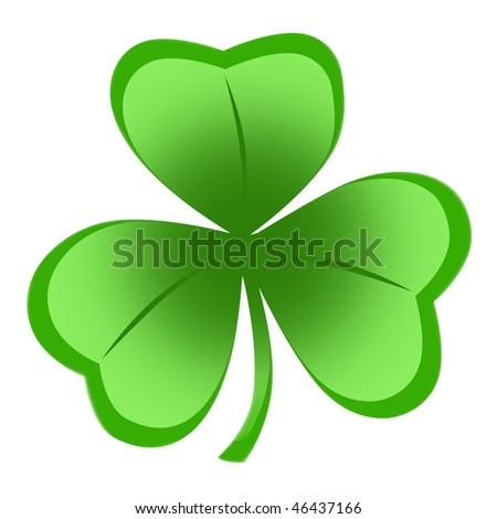 Irish shamrock ideal for St Patrick's Day isolated over white background - stock photo