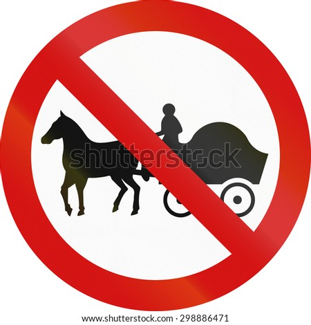 Irish sign prohibiting thoroughfare of horse drawn carriages.