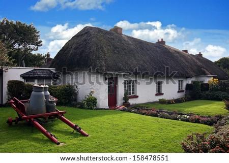 Irish traditional cottage house of Adare - ireland  - stock photo