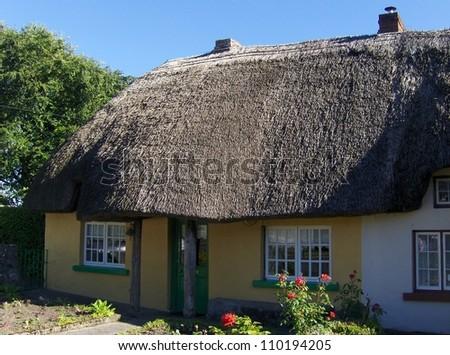 Irish traditional cottage houses - stock photo