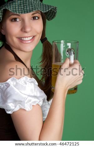 Irish Woman with Beer - stock photo