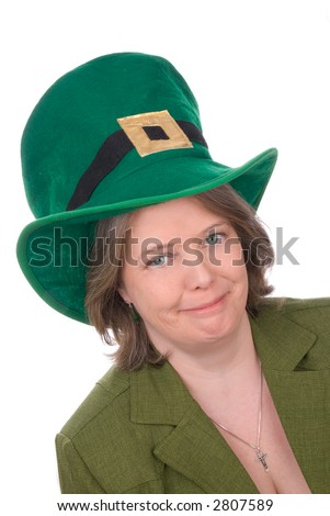 Irish woman with green outfit,hat and green eyes isolated over white - stock photo
