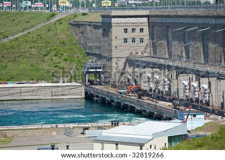 Irkutsk HYDROELECTRIC POWER STATION. It is constructed on the river Angara. The beginning of construction - on July, 7th, 1956.