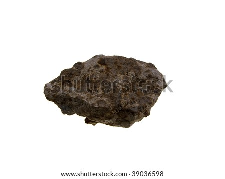 Iron an ore piece of a stone isolated on a white background - stock photo