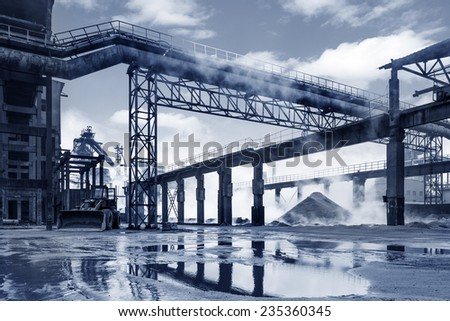 Iron and steel industry landscape - stock photo