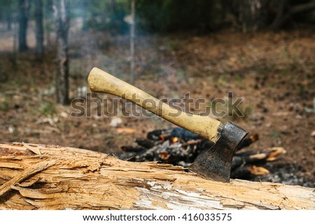 Iron ax near the fire near the camp. Journey into the wild concept.
