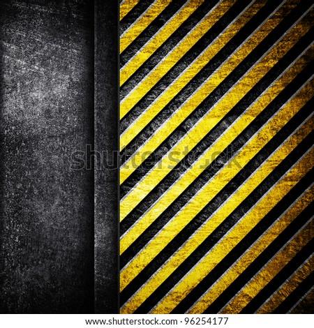 iron background with warning stripe - stock photo