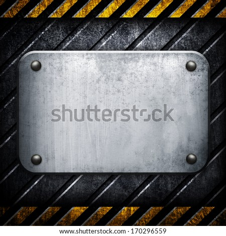 iron background with warning stripes