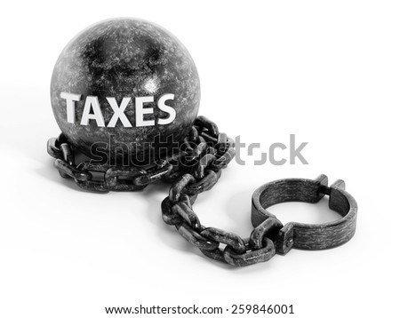 Iron ball connected to shacle trough the chain  - stock photo