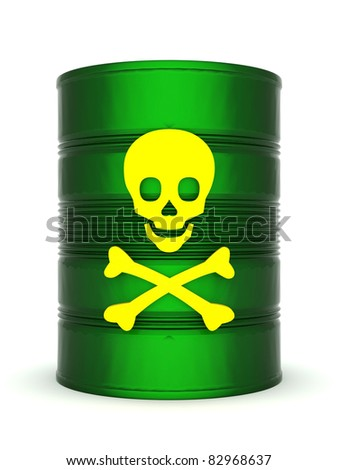 iron barrel with toxic waste on a white background - stock photo