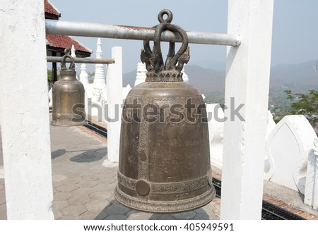 Iron bell in a temple in Thailand - stock photo