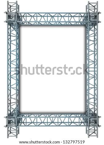 iron blue shiny rectangle construction frame illustration - stock photo