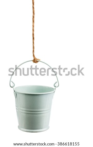 Iron bucket on a rope, isolated on white background - stock photo
