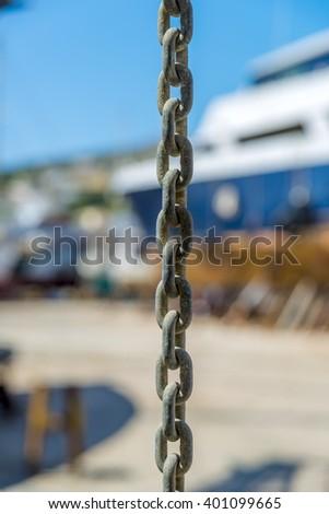 Iron chain links. - stock photo