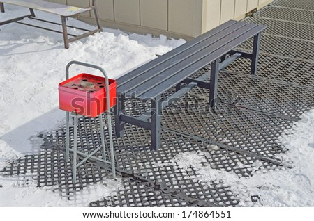 Iron chair on ski area in Japan, nobody around chair. - stock photo
