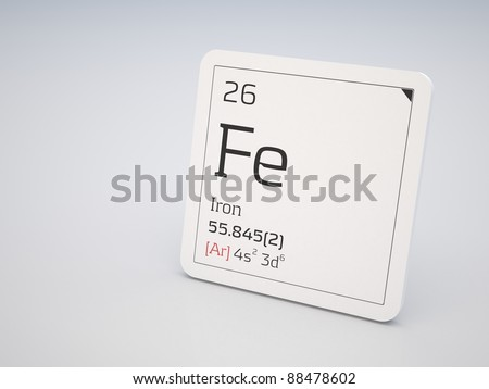 Iron - element of the periodic table - stock photo
