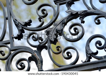 Iron fence detail, leaves and swirls - stock photo