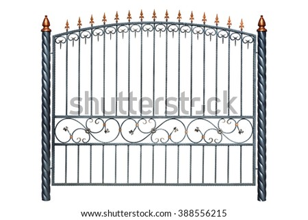 Iron forged fence in the old style. Isolated over white background. - stock photo