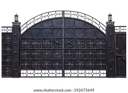 Iron gate isolation on a white background - stock photo
