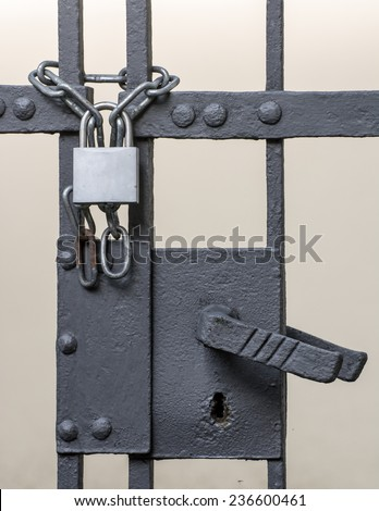 Iron gate scured with a chain and a padlock - stock photo