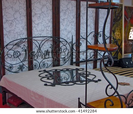 iron king size bed for master bedroom. iron bed. - stock photo
