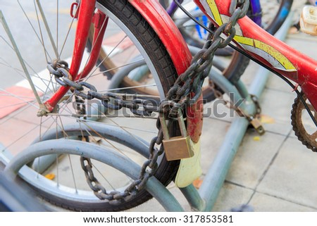 iron lock on a old bicycle