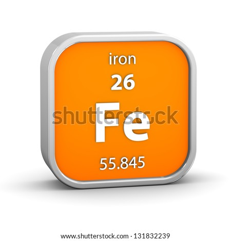 Iron material on the periodic table. Part of a series. - stock photo