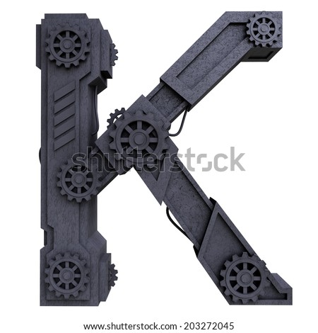 Iron mechanical black letters scratched metal on a white background. Letter k - stock photo