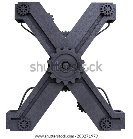 Iron mechanical black letters scratched metal on a white background. Letter x - stock photo