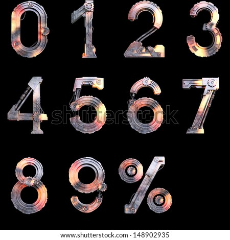 Iron mechanical numbers from zero to ten with a percent sign on the black background  - stock photo