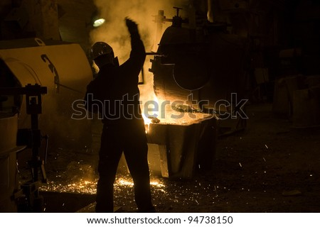 Iron Melting in a retro industry - stock photo