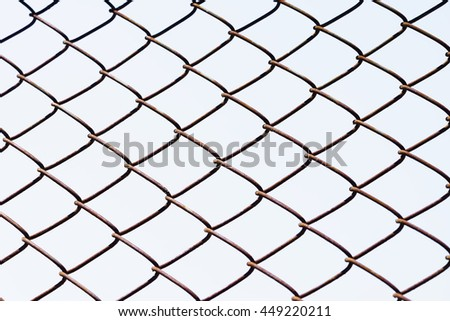 iron net with sky background.